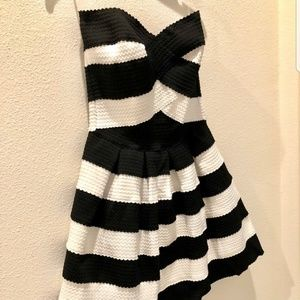 Black and white strapless bandage dress